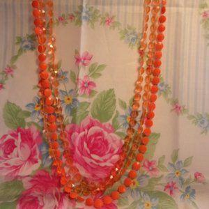 Vintage Triple Strand Orange Flat Bead Necklace